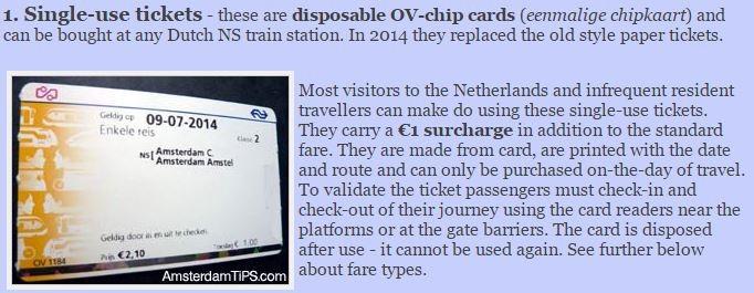 single use ticket OV