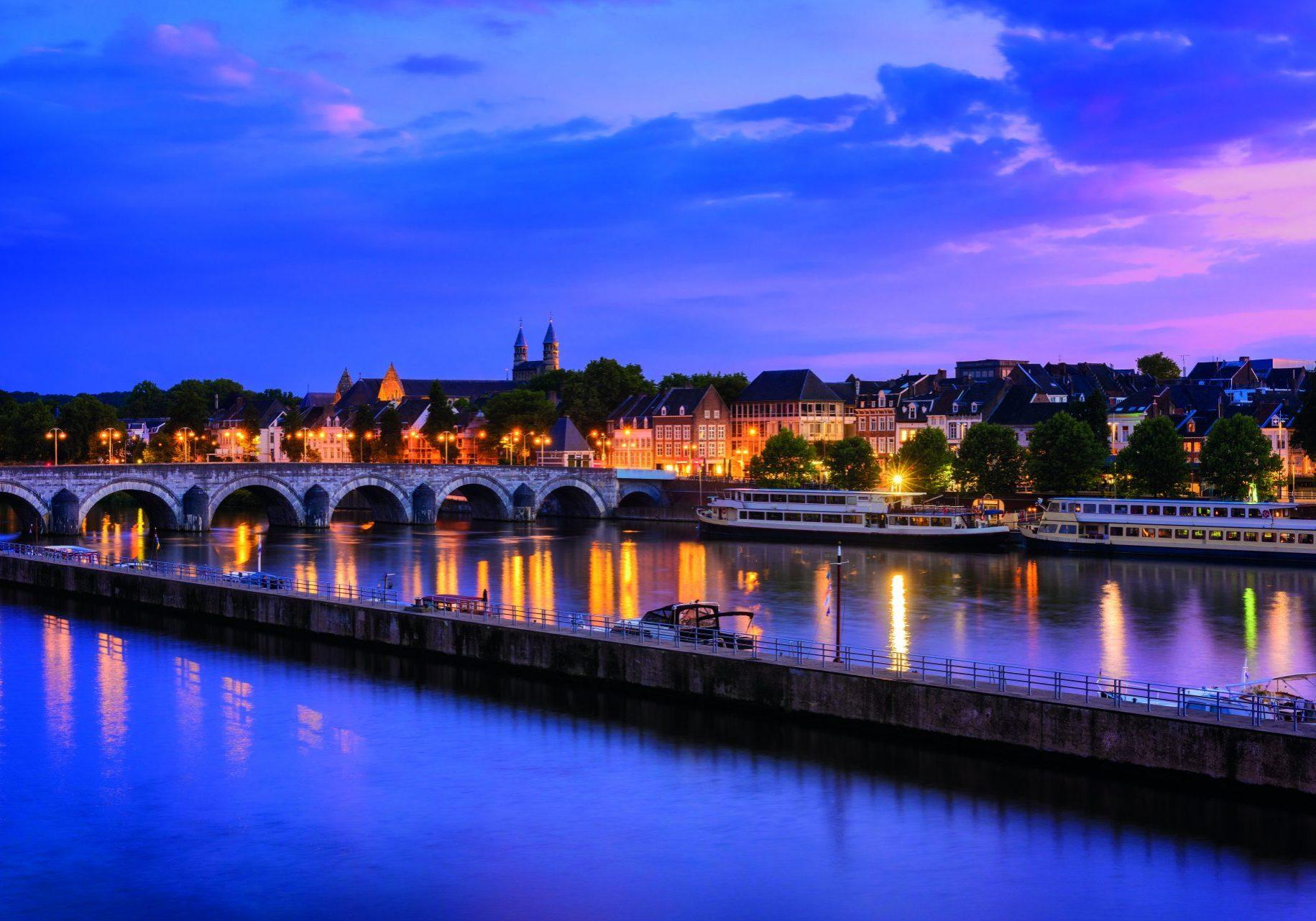 Sint Servaasbrug (St. Servatius Bridge) is an arched stone footbridge across the Maas (Meuse) River.